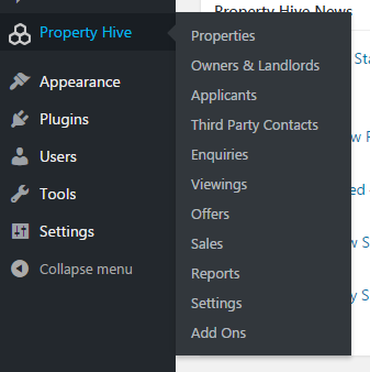 Property Hive Menu in WordPress