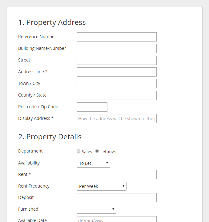 Front End Property Submission Form