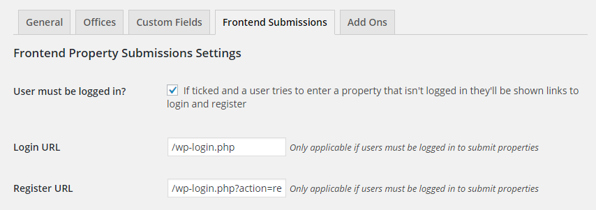 frontend-property-submission-settings