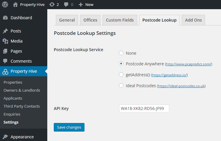 Postcode Lookup Settings and Services