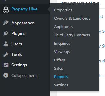 Property Hive Reports in WordPress Menu