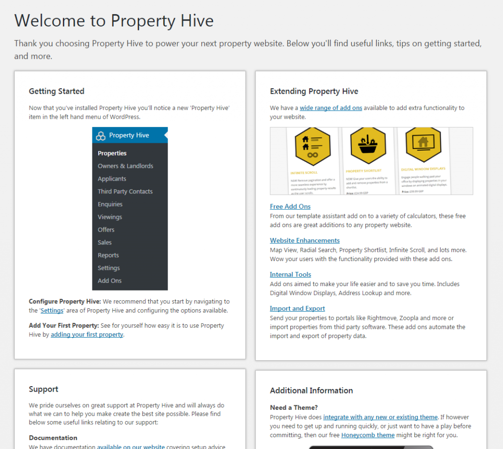 Property Hive Plugin Welcome Screen