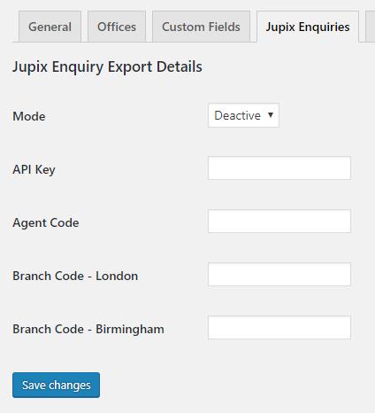 Jupix Enquiries Add On Settings