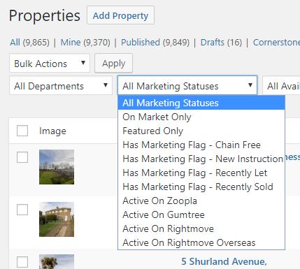 Property Hive Marketing Status Filter Dropdown