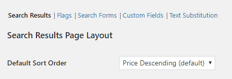 Default property search Sort Order setting