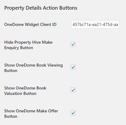 OneDome WordPress Property Hive Settings