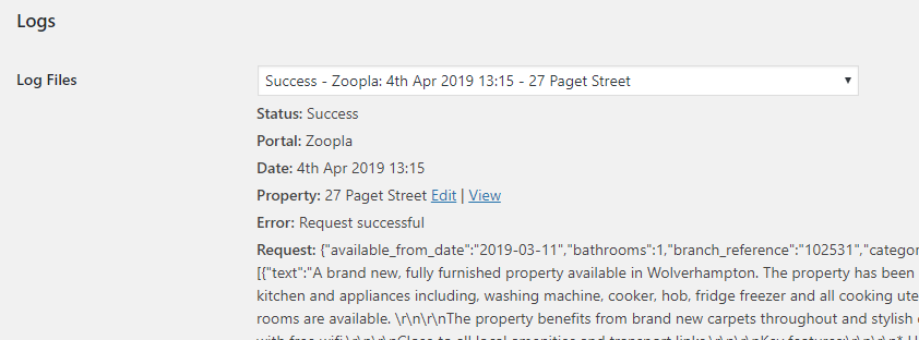 Zoopla RTDF Log