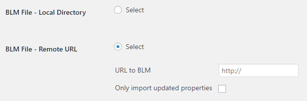 BLM Remote Property Import Settings
