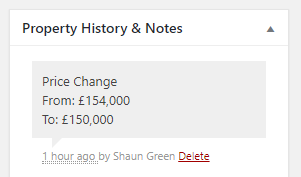 Price Change History Note on Property Record