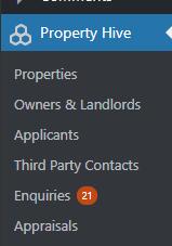 Enquiries Count In WordPress admin menu
