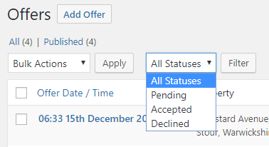 Filter offers by status