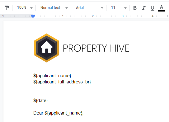 document sample with merge tags