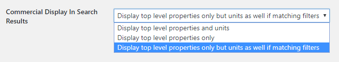 Commercial property search results display option