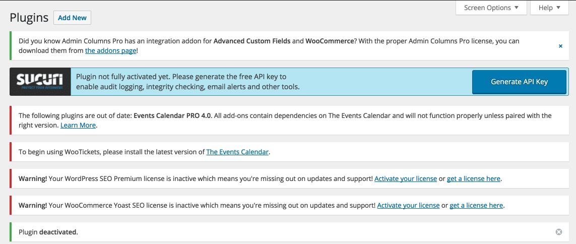 WordPress admin notices