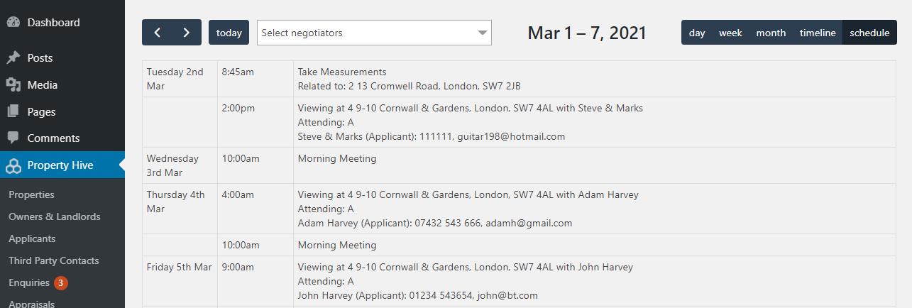 Calendar Schedule View