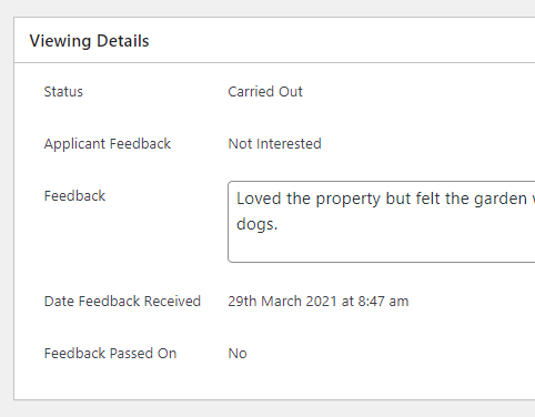 Viewing Feedback Received Date