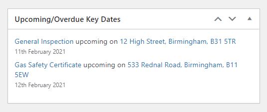 WordPress Key Dates Widget