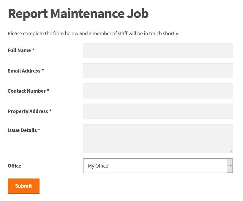 Report maintenance issue form