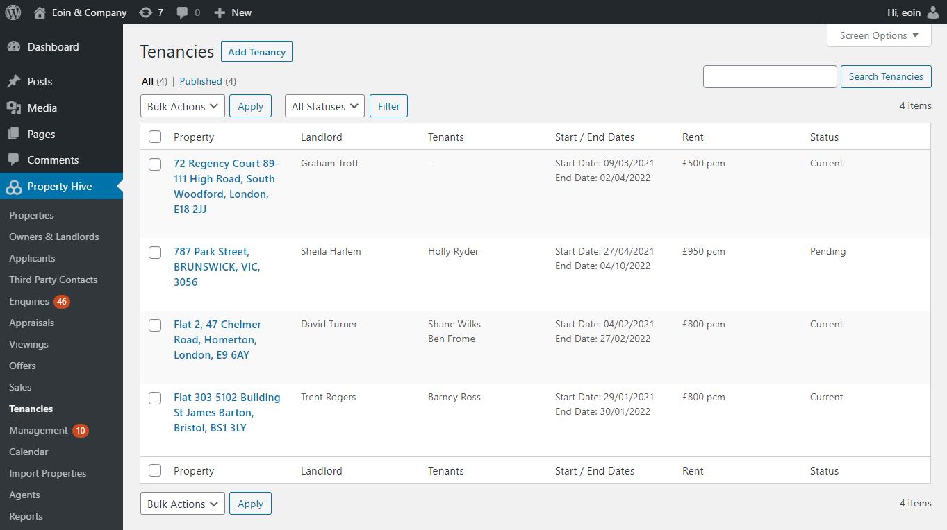 WordPress Tenancies Admin List