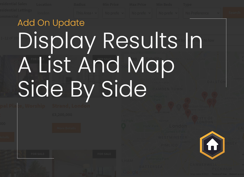 Display Property List and Map Side By Side With Our Map Search Add On Update