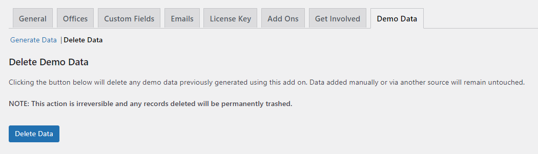 Delete Demo Data