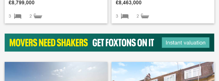 Foxtons Search Results Promo Example