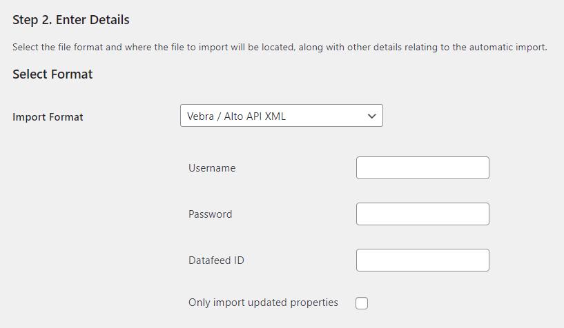 Property Import Vebra Alto Details