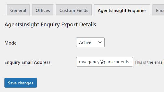 AgentsInsight Enquiry Export Settings