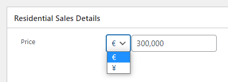 Currency selection on property record in WordPress