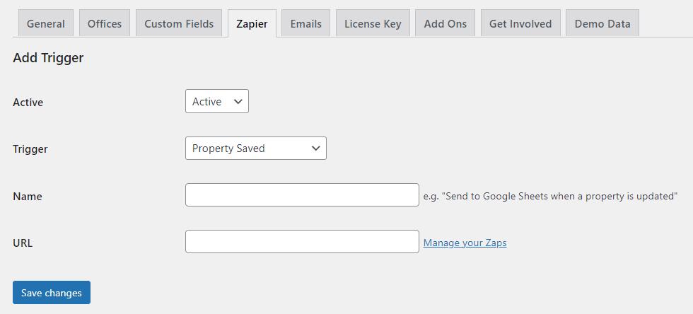 Property Hive WordPress Zapier Settings