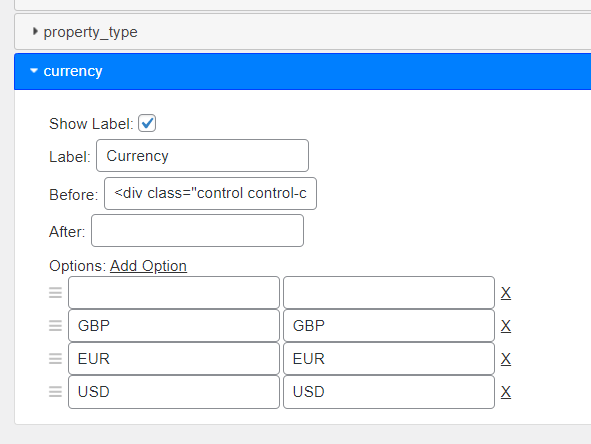 Currency Search Form Field